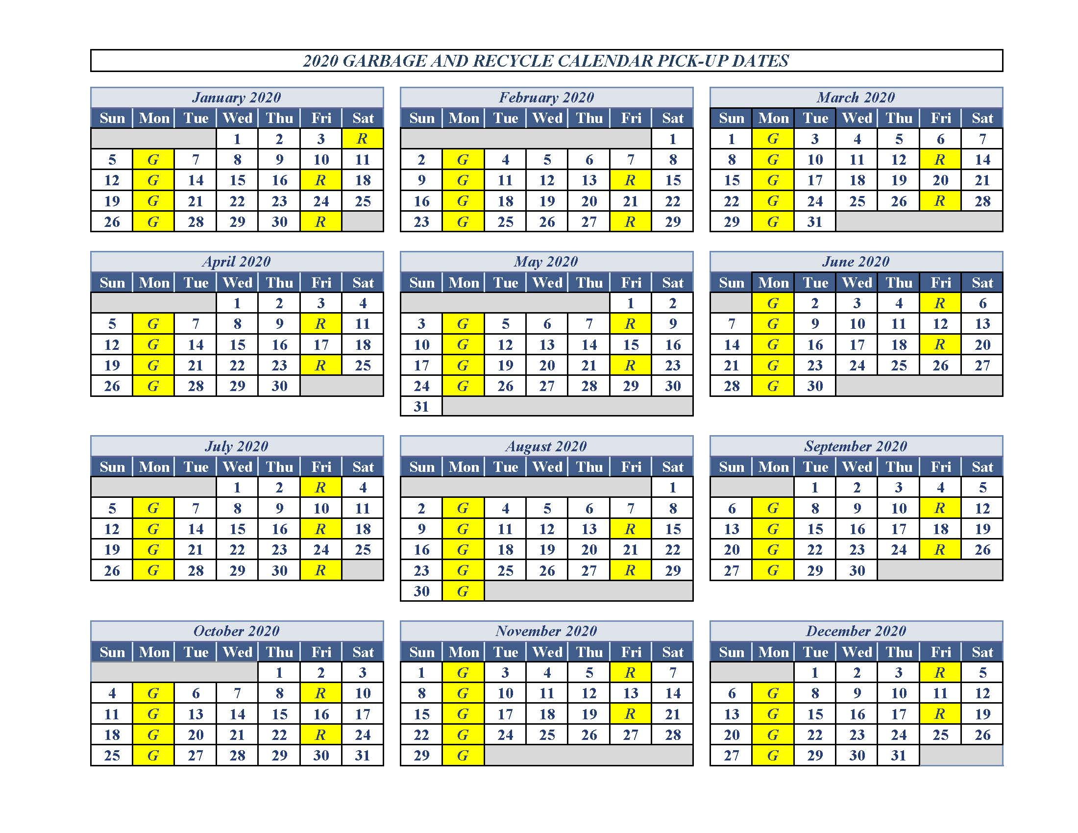 2020 Garbage and Recycling Calendar