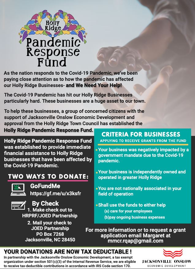 Holly Ridge Pandemic Response Fund Flyer